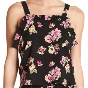 Abound Black Floral Ruffle Top